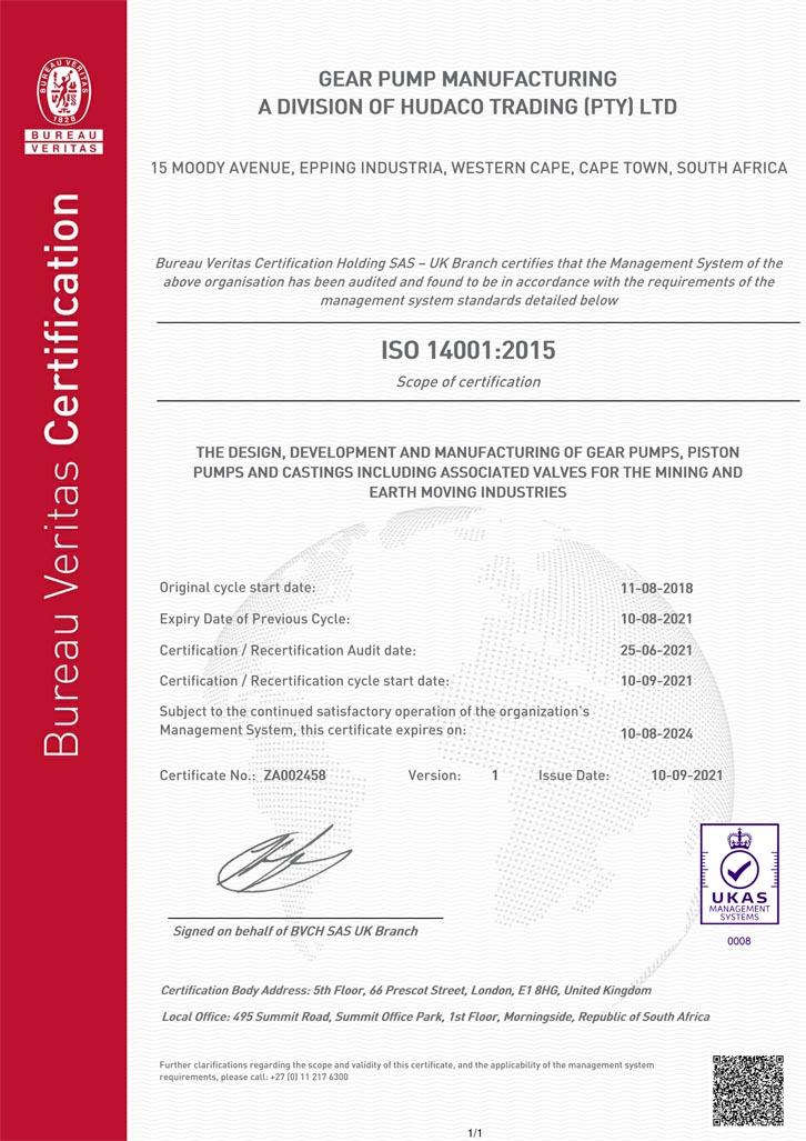 Gear Pump Manufacturing ISO 14001-2015 Certificate