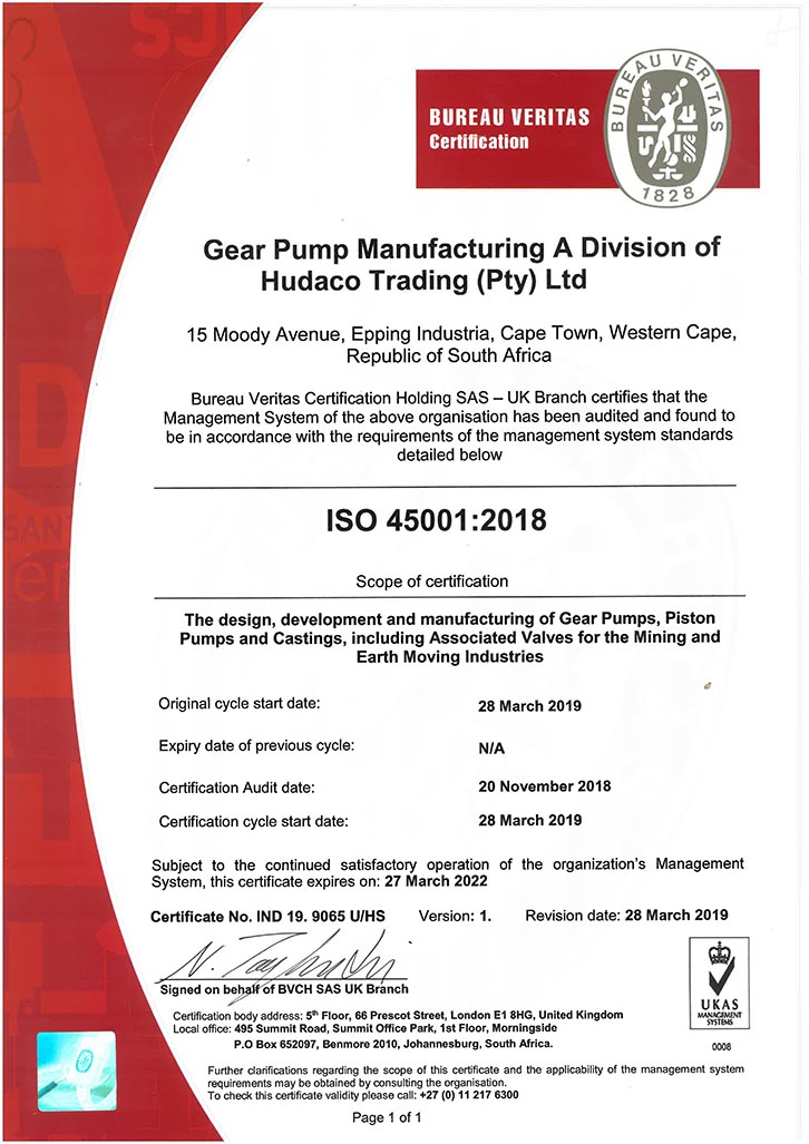 Gear Pump Manufacturing ISO 45001-2018 Certificate